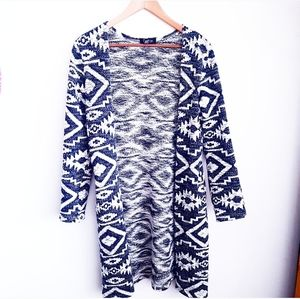 PAPILLON Blue & White Aztec Long Duster Cardigan